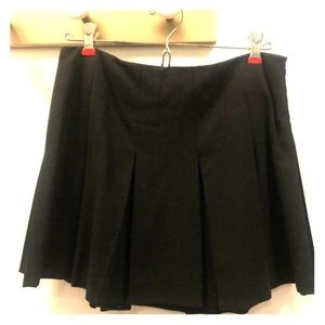 Theory Pleated Wool Mini Skirt, Gray, Size 0
